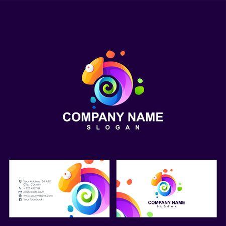 chameleon logo design vector illustration Illustration
