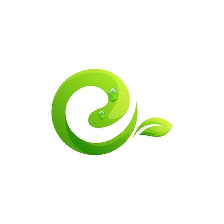letter E leaf logo design vector illustration