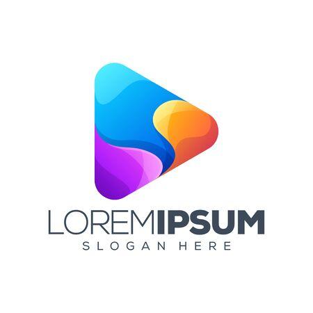Colorful play logo design Stock Illustratie