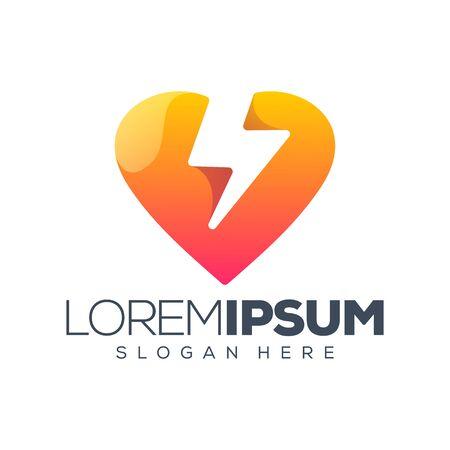 love energy logo design vector illustration