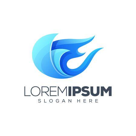 blue flame logo design vector illustration Stock Illustratie
