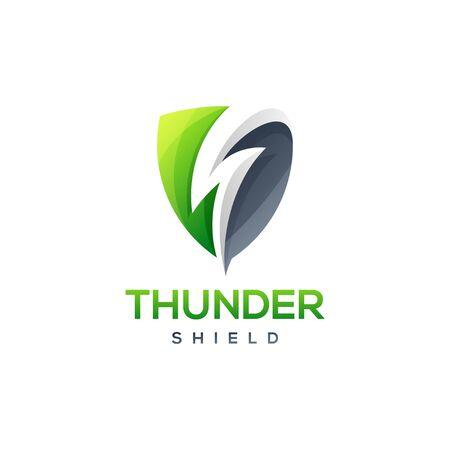 thunder shield logo design vector illustration Stock Illustratie
