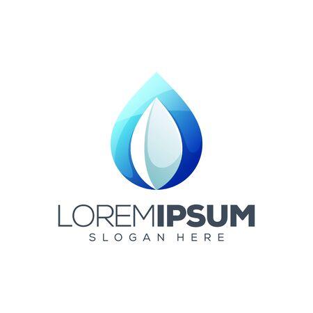 leaf water logo design vector illustration