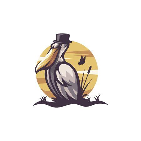 pelican logo design vector illustration Stock Illustratie