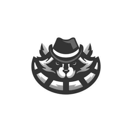 raccoon logo design vector illustration