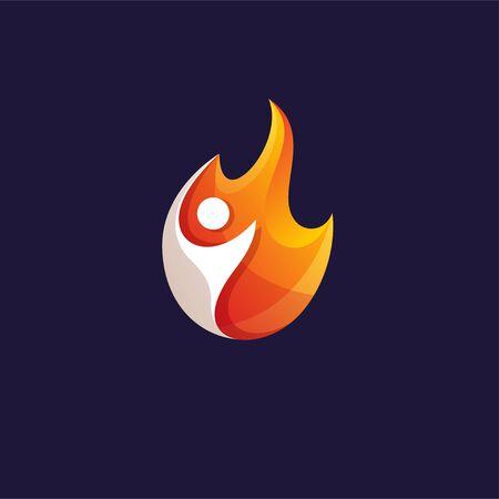 people fire logo design vector illustration
