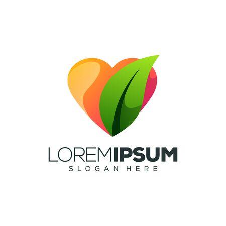 love leaf logo design vector illustration