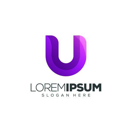 letter U logo design vector illustration