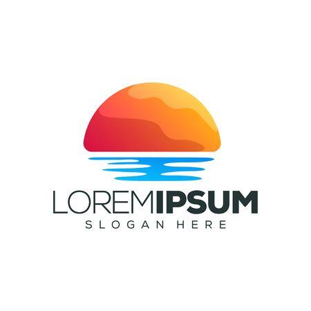 sunset logo design vector illustration