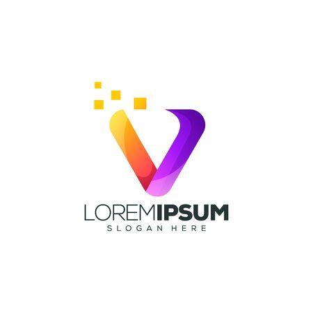 letter V logo design vector illustration 向量圖像