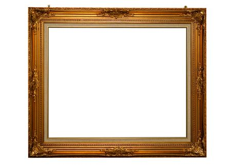 Classical gold frame with mounting screws photo