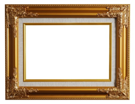 Classical gold frame isolated with clipping path Stock Photo