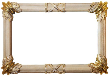 Classical frame with Roman pillars & gold trimmings, isolated with clipping path