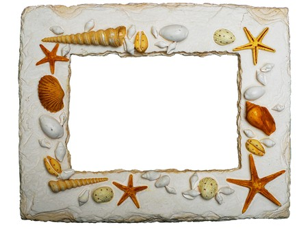 Photo frame adorned with seashells and marine animals, isolated with clipping path