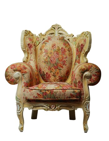 Classical antique chair with floral pattern, isolated