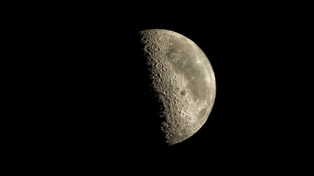 waxing: Moon on galaxy solar system planets Stock Photo