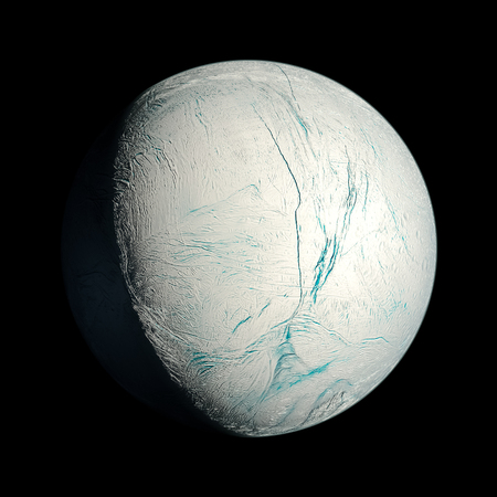 Enceladus Planet Solar System space isolated illustration