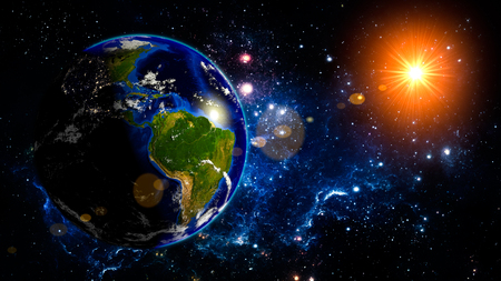 earth system: Earth Planet Solar System space isolated illustration Stock Photo