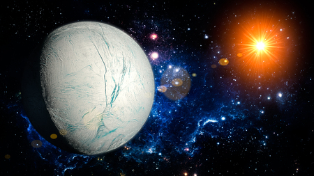 enceladus: Enceladus Planet Solar System space isolated illustration