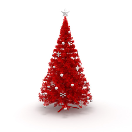 isolated tree: Christmas Tree isolated with bauble and garland