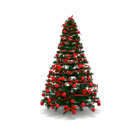 tree isolated: Christmas Tree isolated with bauble and garland