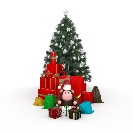 near: Monkey near Boxes with gifts Cristmas composition isolated