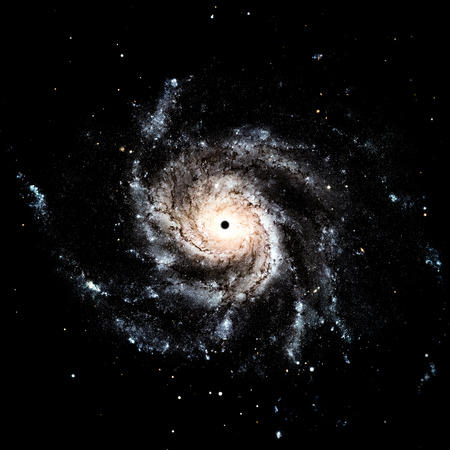 black hole: Black hole collapsar galaxy space stars illustration Stock Photo