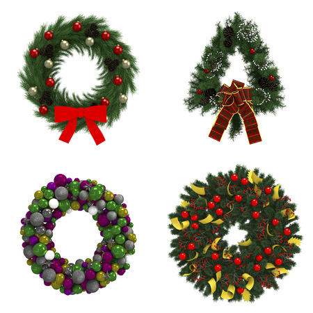 wreath collection: Christmas wreath collection set on white background with decorations illustration Stock Photo