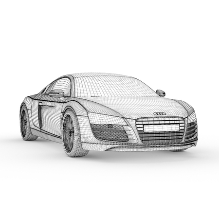 wire frame: Car model drawing graphic design 3d illustration Stock Photo
