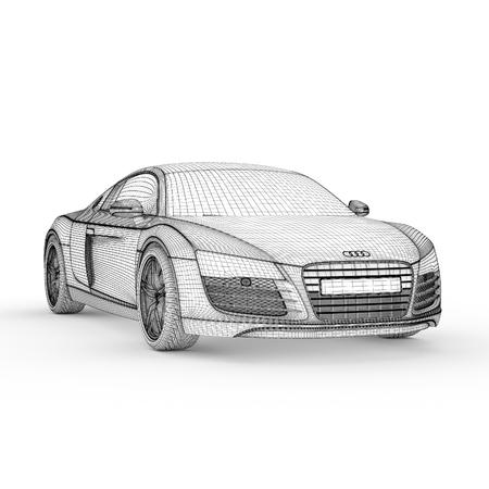 Car model drawing graphic design 3d illustration Banque d'images