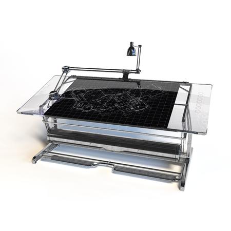 vernier: Desing Drawing Table desk - 3d render - illustration Stock Photo