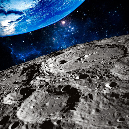 moon crater: Moon surface Terraced Wall Crater. Stock Photo
