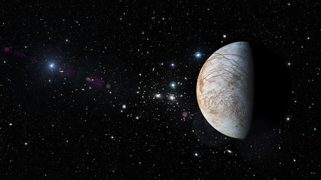View of planet Europa in outer space in a star field. Reklamní fotografie