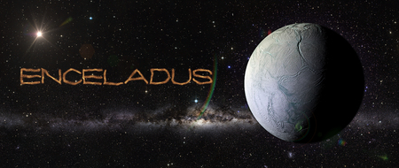 enceladus: View of Enceladus in outer space in a star field. Elements of this image furnished by NASA