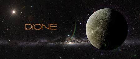 dione: View of Dione in outer space in a star field. Elements of this image furnished by NASA Stock Photo