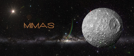 mimas: View of planet in outer space. Elements of this image furnished by NASA Stock Photo
