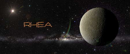 rhea: View of planet in outer space. Elements of this image furnished by NASA Stock Photo