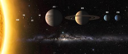 Illustration of Solar system planets around sun