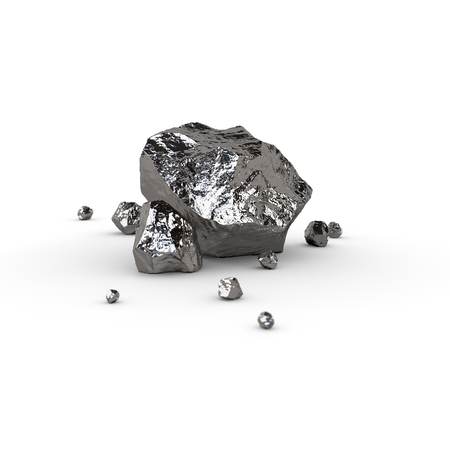 raw materials: Metal piece, mineral raw materials isolated illustration Stock Photo