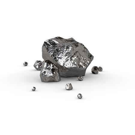 titanium: Metal piece, mineral raw materials isolated illustration Stock Photo
