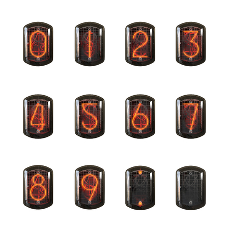 cathode: Nixie clock numbers set. Cathode digit in a little glass dome vector illustration. Stock Photo