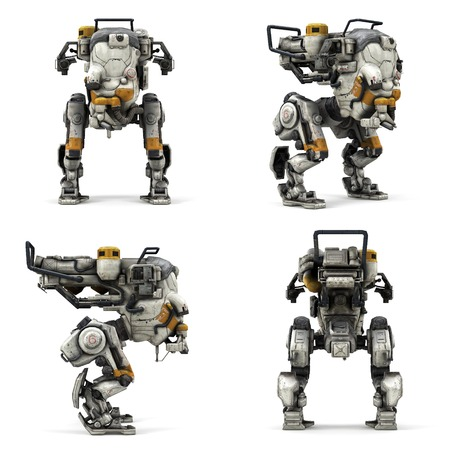 Robot isolated collection of view  3D rendering Stock Photo