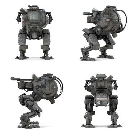 ビューの 3 D レンダリングの分離したロボット コレクション