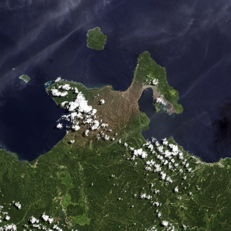 Earth top view from space. 版權商用圖片