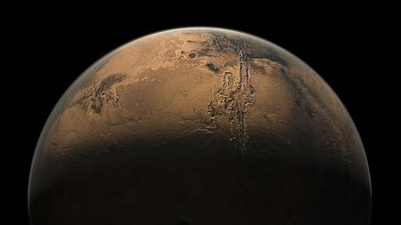 half globe: Mars Planet Solar System space isolated illustration 3d render