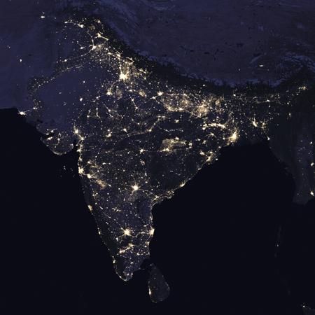インド宇宙からの夜景です。NASA から提供されたこのイメージの要素です。 写真素材