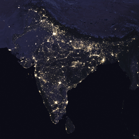 India night view from space,. Elements of this image furnished by NASA .