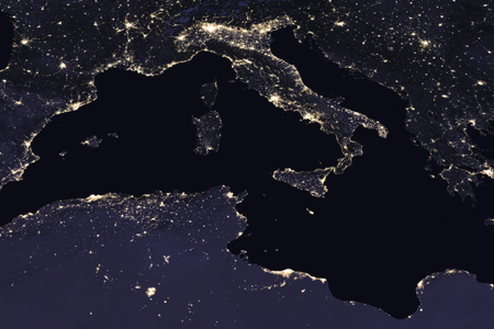 Italy night view from space. Elements of this image furnished by NASA . Фото со стока - 80110595