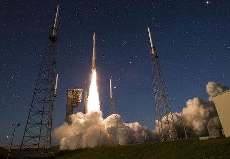 Spaceshatle launch rocket isolated on black background