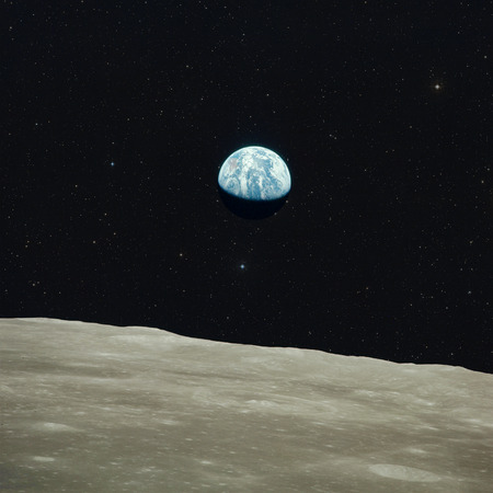 Earth view from moon. Elements of this image furnished by NASA. Banco de Imagens